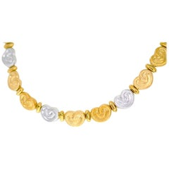 Chiampesan Heart Three-Colors Necklace 18 Karat Yellow and White and Pink Gold