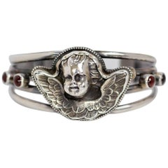 Jill Garber Antique Art Nouveau Angel with Bohemian Garnet Cuff Bracelet