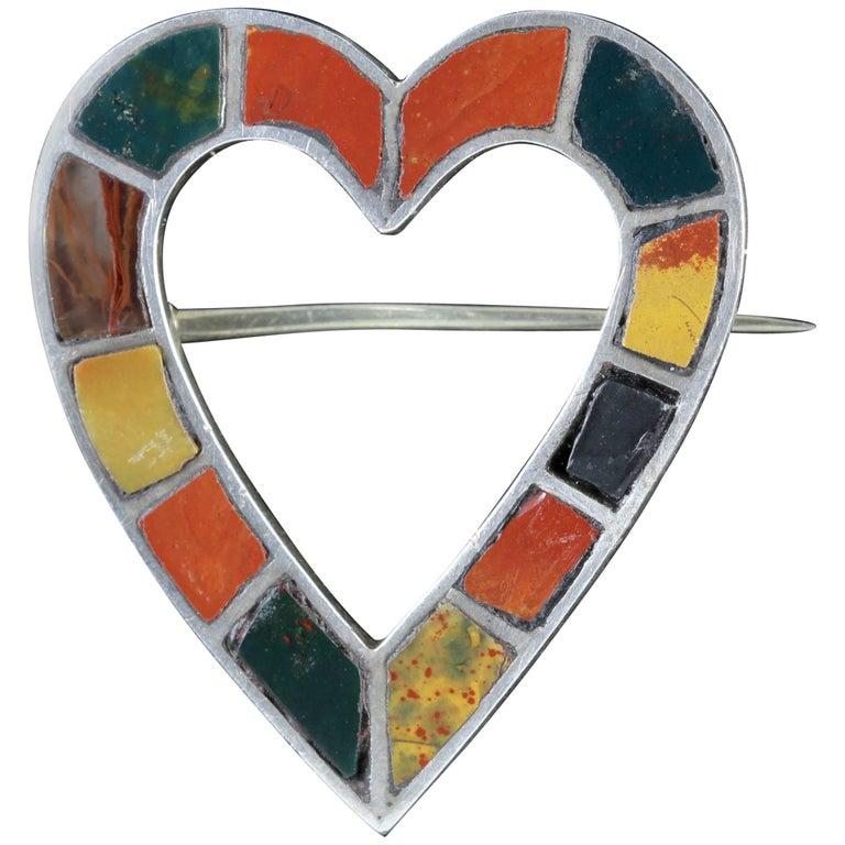 Antique Victorian Scottish Agate Heart Brooch