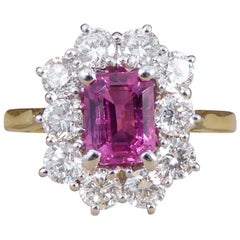 Pink Sapphire and Diamond Cluster Ring in 18 Carat Gold