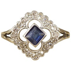 Antique Edwardian Sapphire and Diamond Ring in 18 Carat Gold