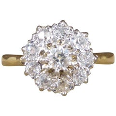 Antique Edwardian Diamond Cluster Ring in 18 Carat Yellow Gold and Platinum