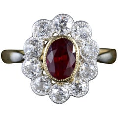 Antique Victorian Ruby Diamond Cluster Ring
