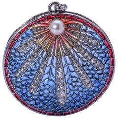 Art Nouveau Plique-à-Jour Enamel, Pearl and Diamond Platinum Pendant
