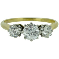 Diamond Three-Stone Engagement Ring, 0.72 Carat, Yellow Gold and Platinum