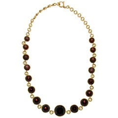 Garnet Yellow Gold Choker Necklace