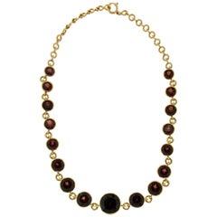 Garnet 18 karat Yellow Gold Choker Necklace