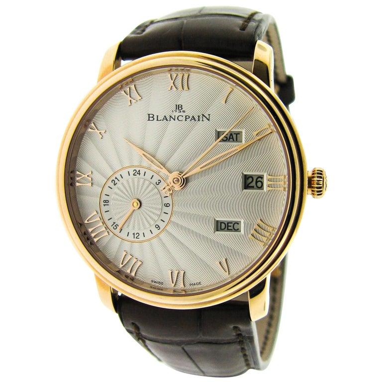 Blancpain Rose Gold Villeret Annual Calendar GMT Self-Winding Wristwatch