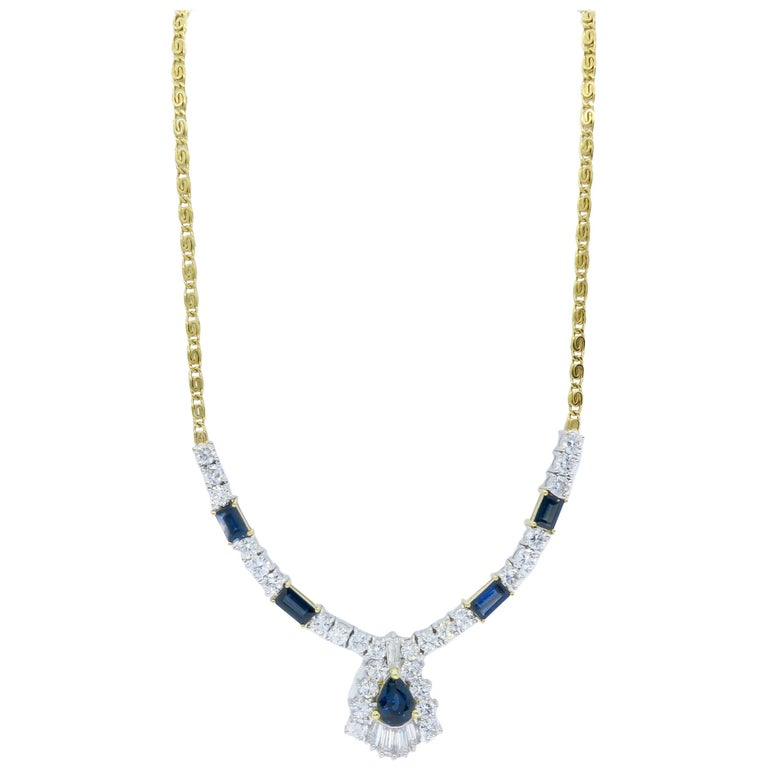 sapphire bezel set shipping product watches gold auriya round overstock blue necklace free today jewelry
