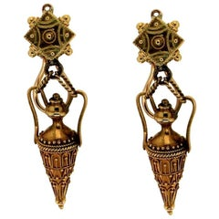 1800s Antique Jars Yellow Gold Drop Earrings