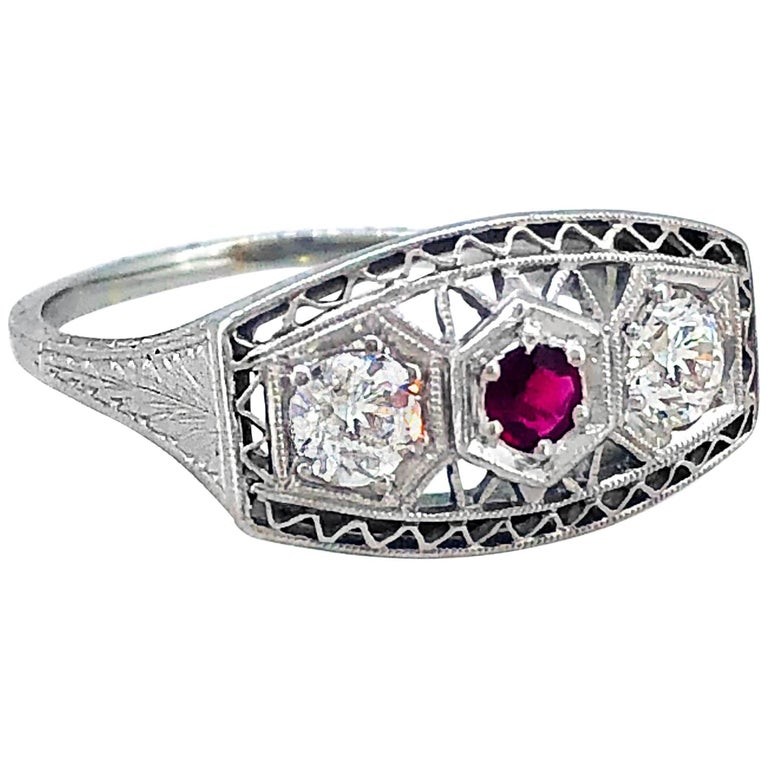 .50 Carat Diamond Ruby Antique Engagement Fashion Ring 18 Karat White Gold