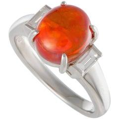 Fire Opal Diamond Platinum Three-Stone Ring