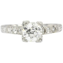 Art Deco Platinum Old European Cut .85 Carat Diamond Engagement Ring