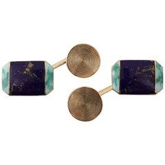 Cartier, Pair of 18 Karat Gold Blue and Green Enameled Cufflinks, circa 1920