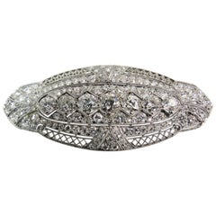 Platinum Filagree Diamond Brooch