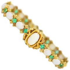 Antique Victorian 15 Karat Gold Ladies Bracelet with Opals and Emeralds, 1870s