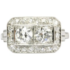 Art Deco Platinum Double Diamond Toi et Moi Ring
