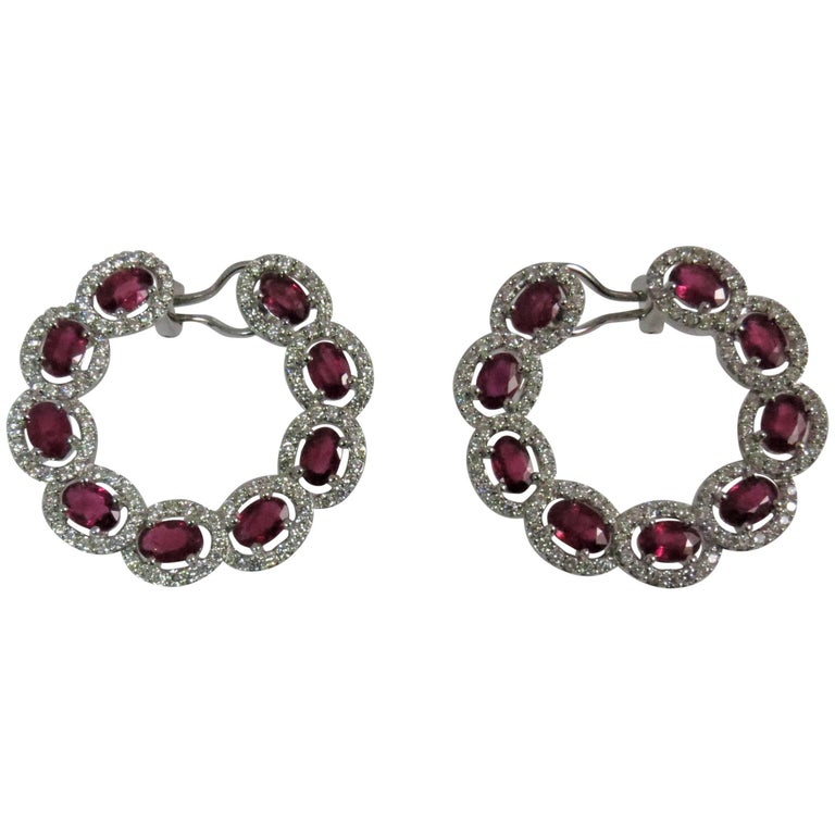 18 Karat White Gold Ruby and Diamond Ear Clips