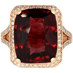 12.74 Carat Rhodolite Garnet and 0.45 Carat White Diamond Ring