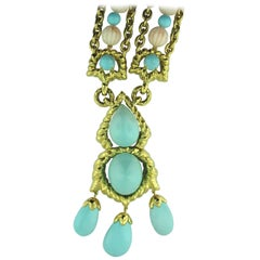 David Webb Coral Turquoise Diamond Gold Necklace