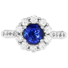 1.08 Carat Blue Sapphire and 0.85 Carat White Diamond Ring