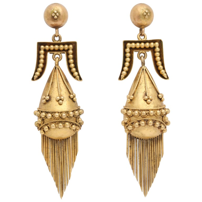 Victorian Etruscan Revival Tassel Earrings