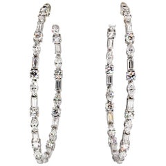 Ivanka Trump Diamond and White Gold Large Inside Out Hoop Earrings