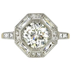 1.49 Carat Art Deco Two-Toned Engagement Ring