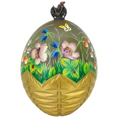 Faberge Limited Edition, Summer Egg, 23 Carat Gold Basket with Box and Papers