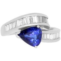 2.08 Carat Blue Sapphire and 0.82 Carat White Diamond Platinum Ring