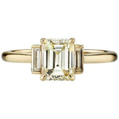 1.14 Carat Emerald Cut Diamond Set in a Handcrafted Yellow Gold Engagement Ring