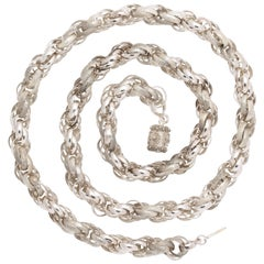 Extremely Rare Georgian Sterling Silver Long Chain, circa 1820-1830