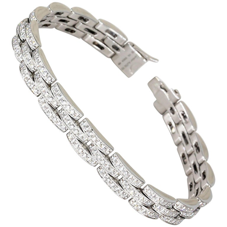 Cartier Maillon Panthere Diamond and White Gold Three-Row Link Bracelet For Sale