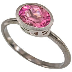 Modern Pink Tourmaline and Diamond Solitaire Ring