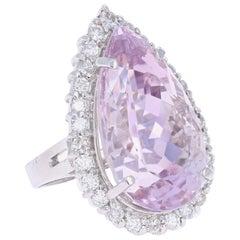 29.07 Carat Kunzite Diamond White Gold Cocktail Ring