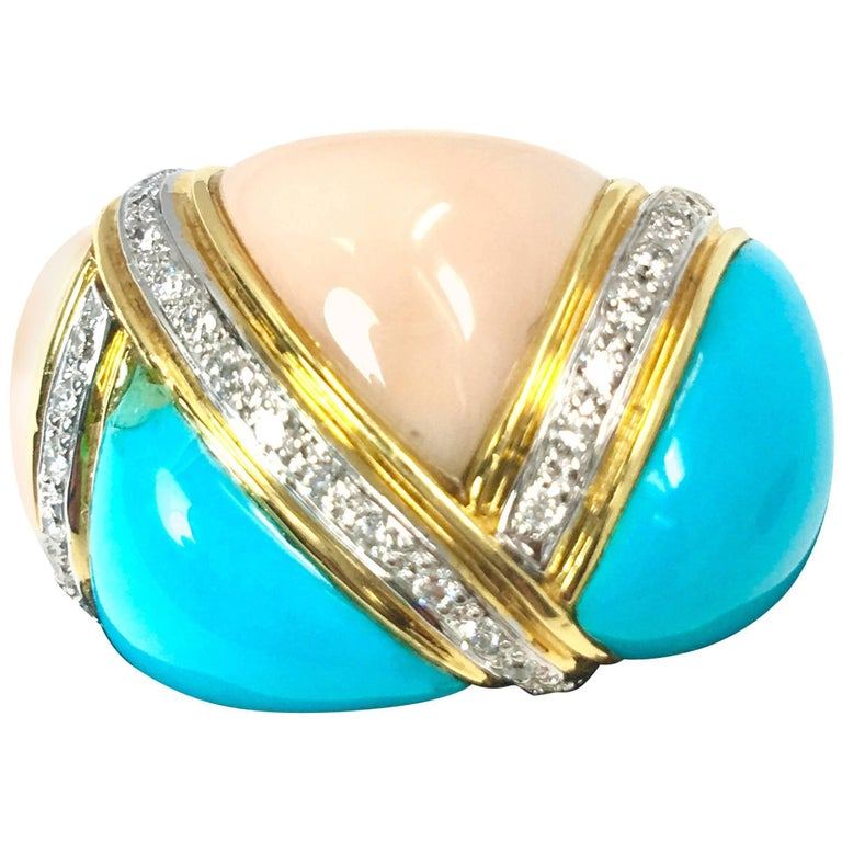 Coral and Turquoise Diamond Cocktail Ring