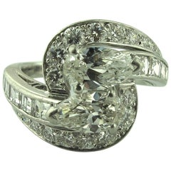 4.50 Carat Diamond Platinum Ring, circa 1960 Cross over