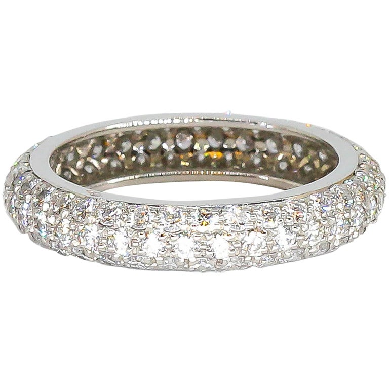Cartier Three-Row Pave Diamond and Platinum Band For Sale
