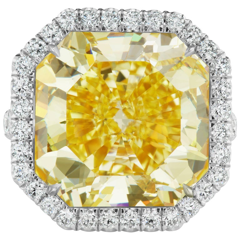 Scarselli 15 Carat Fancy Intense Yellow Diamond Ring Internally Flawless GIA