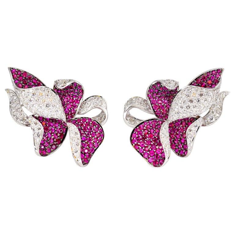 Adler Diamond, Ruby and White Gold Flower Earrings For Sale