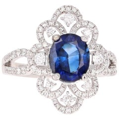 GIA Certified 2.79 Carat Blue Sapphire Diamond Cocktail Ring