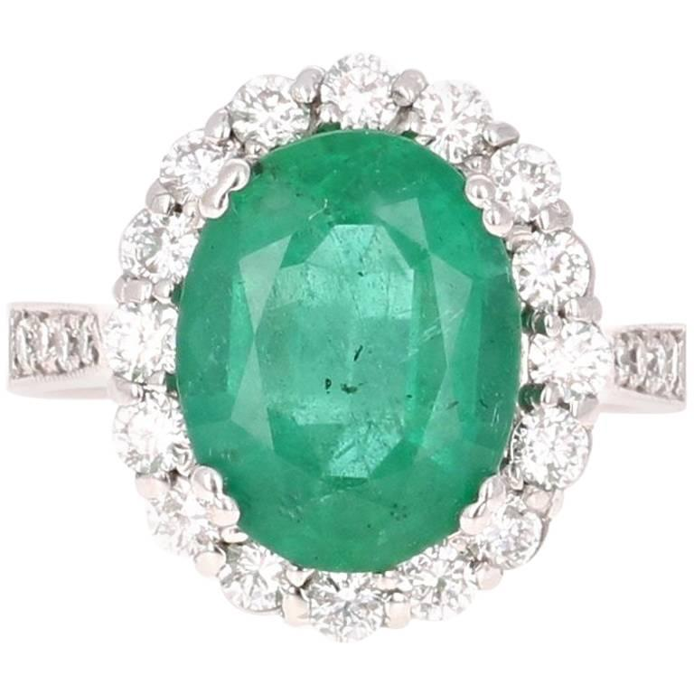 5.39 Carat Emerald Diamond White Gold Cocktail Ring