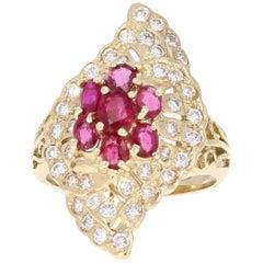 2.36 Carat Ruby Diamond Art Deco Yellow Gold Ring