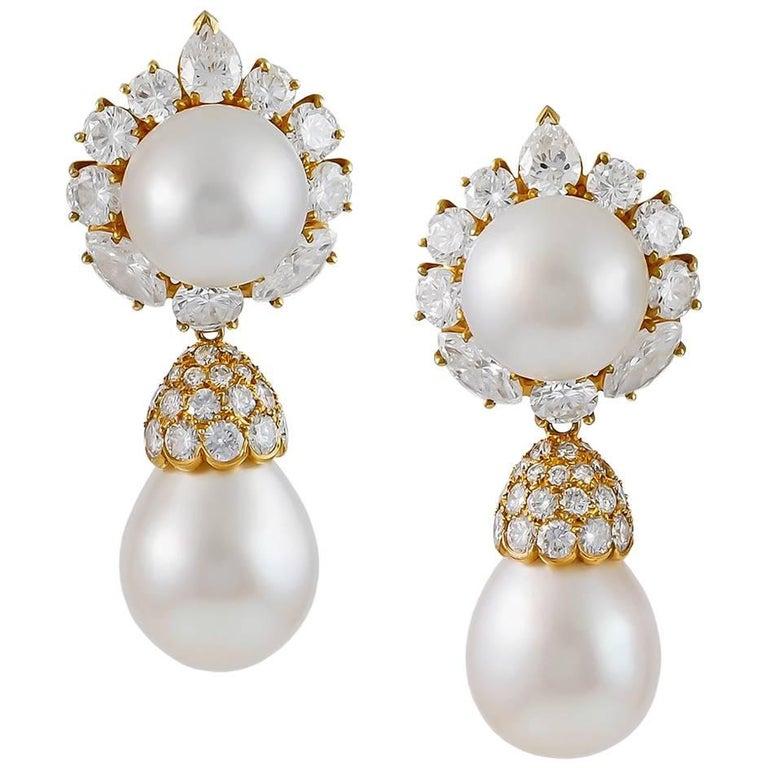 Van Cleef & Arpels Diamond and Pearl Ear Pendants