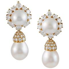 Van Cleef & Arpels Diamond and Pearl Ear Pendants