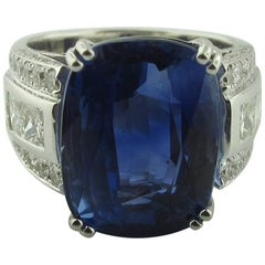 GIA Certified 13.97 Carat Burma No-Heat Blue Sapphire Diamond Ring