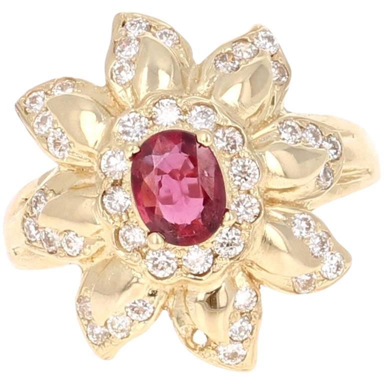 1.20 Carat Ruby Diamond Yellow Gold Ring