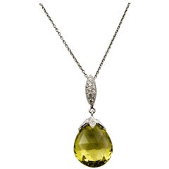 10.50 Carat Lime Quartz Brio 18 Karat White Gold Pendant .22 Carat Diamonds