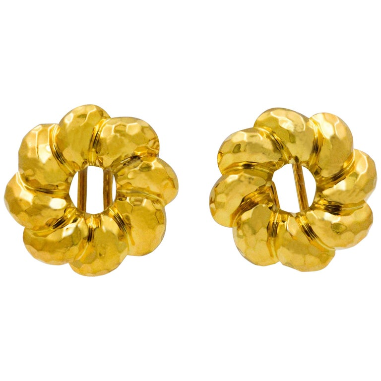 Henry Dunay 18 Karat Yellow Faceted Gold Earring Jackets For Sale