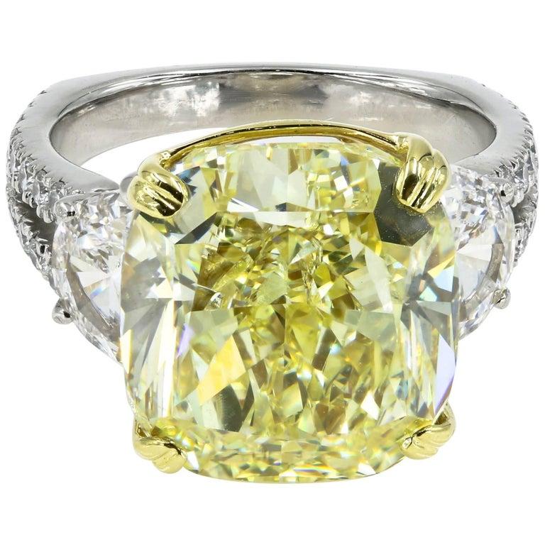 Natural Fancy Yellow 12.75 Cushion Cut Diamond Ring - GIA Certified